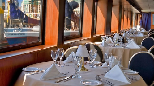 Dining area on Dinner Cruise in San Diego