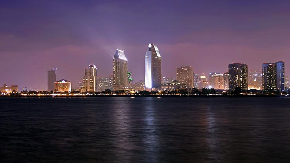 Show item 5 of 7. City view at night on cruise in San Diego California