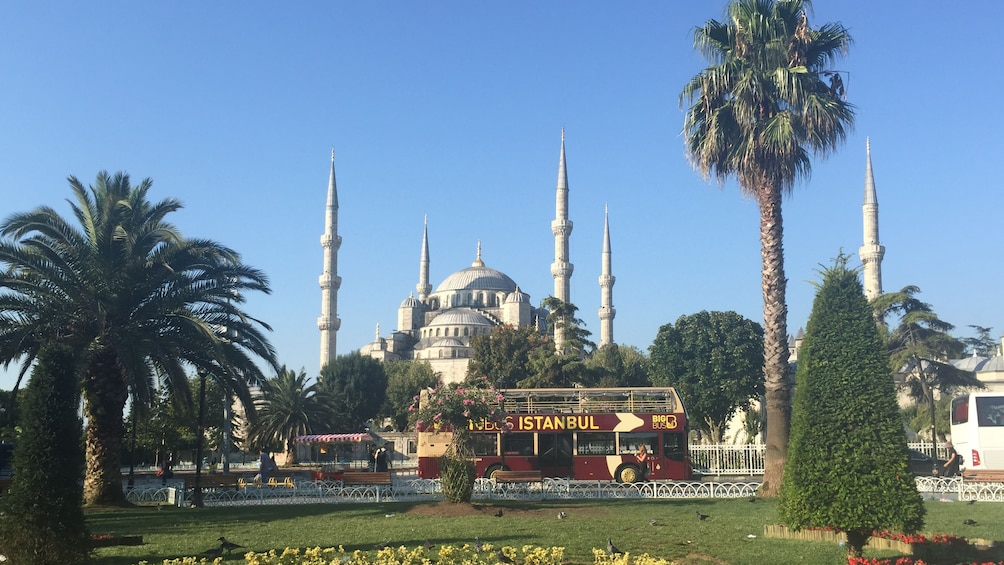 Hop-On Hop-Off bus  outside of the Hagia Sophia Museum