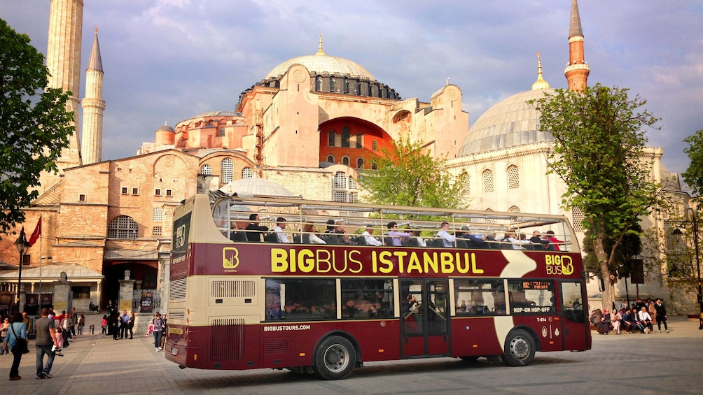 Show item 1 of 10. Hop-On Hop-Off bus in front of Hagia Sophia Museum in Istanbul