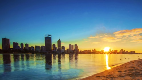 City of Perth along the water at sunrise