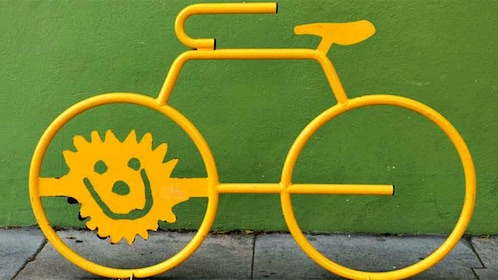 Yellow bicycle sculpture in San Francisco