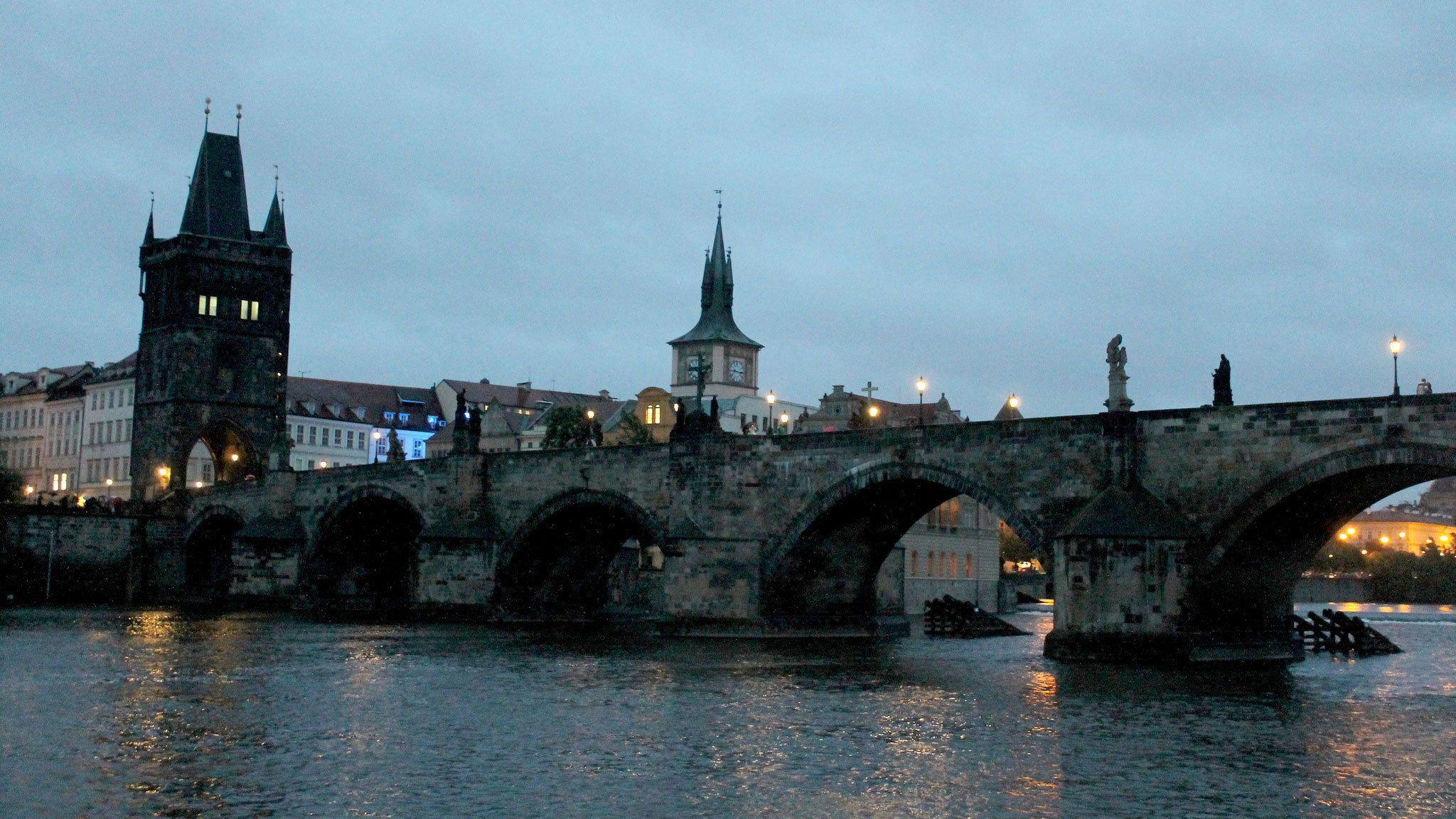 The Charles Bridge at night in Prague