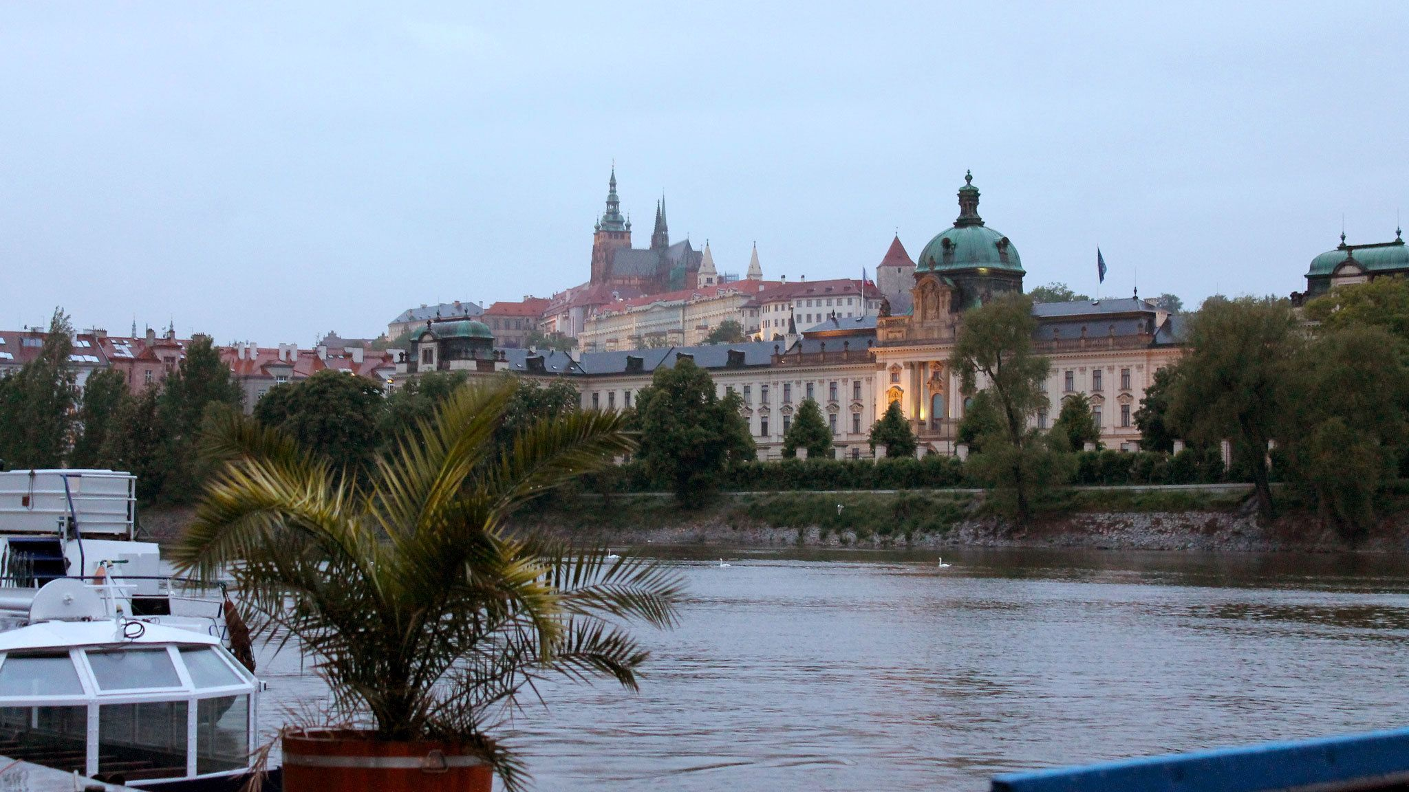 Looking across the Vltava Rivera at Old Town Prague