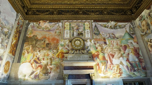 Colorful fresco on the walls of Palazzo Vecchio in Florence