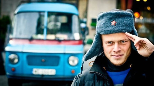 Wearing communist hat in Warsaw