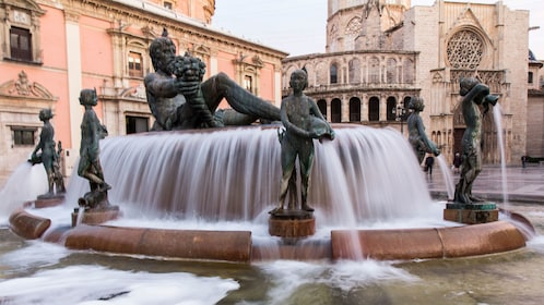 old bronze sculpture at the water fountains in Spain