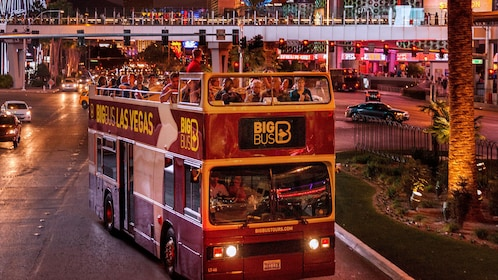 aboard the double decker bus at night in Las Vegas