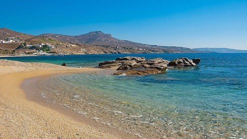 Beach and crystal clear water in Mykonos