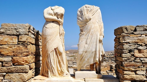 Remains of two statues in Mykonos