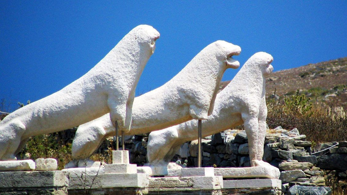 Lion statues at the ruins of Delos in Mykonos