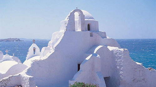 White greek orthodox church on Mykonos