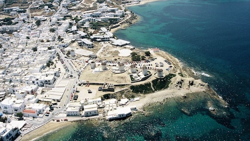 Aerial view of the coast of Mykonos