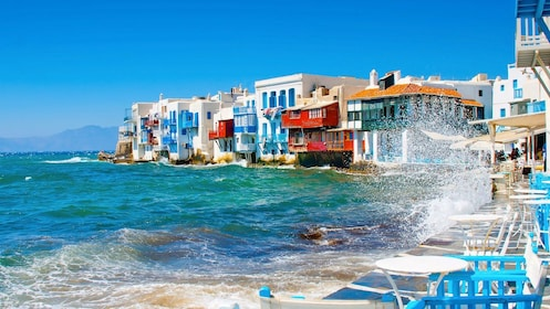 Colorful buildings on the waterfront of Mykonos