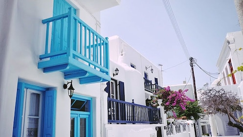 Iconic white and blue buildings of Mykonos