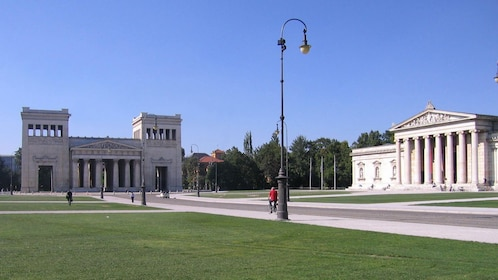 paved paths and lawn in front of historical buildings in Germany