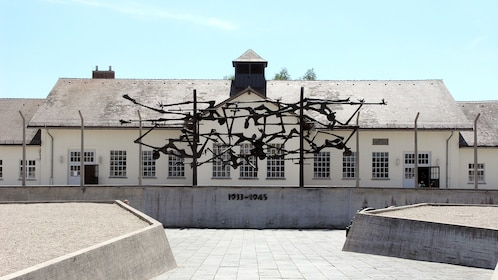 metal sculpture installation at the Dachau concentration camp in Germany