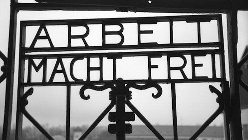 an old steel gate at a historical concentration camp in Germany