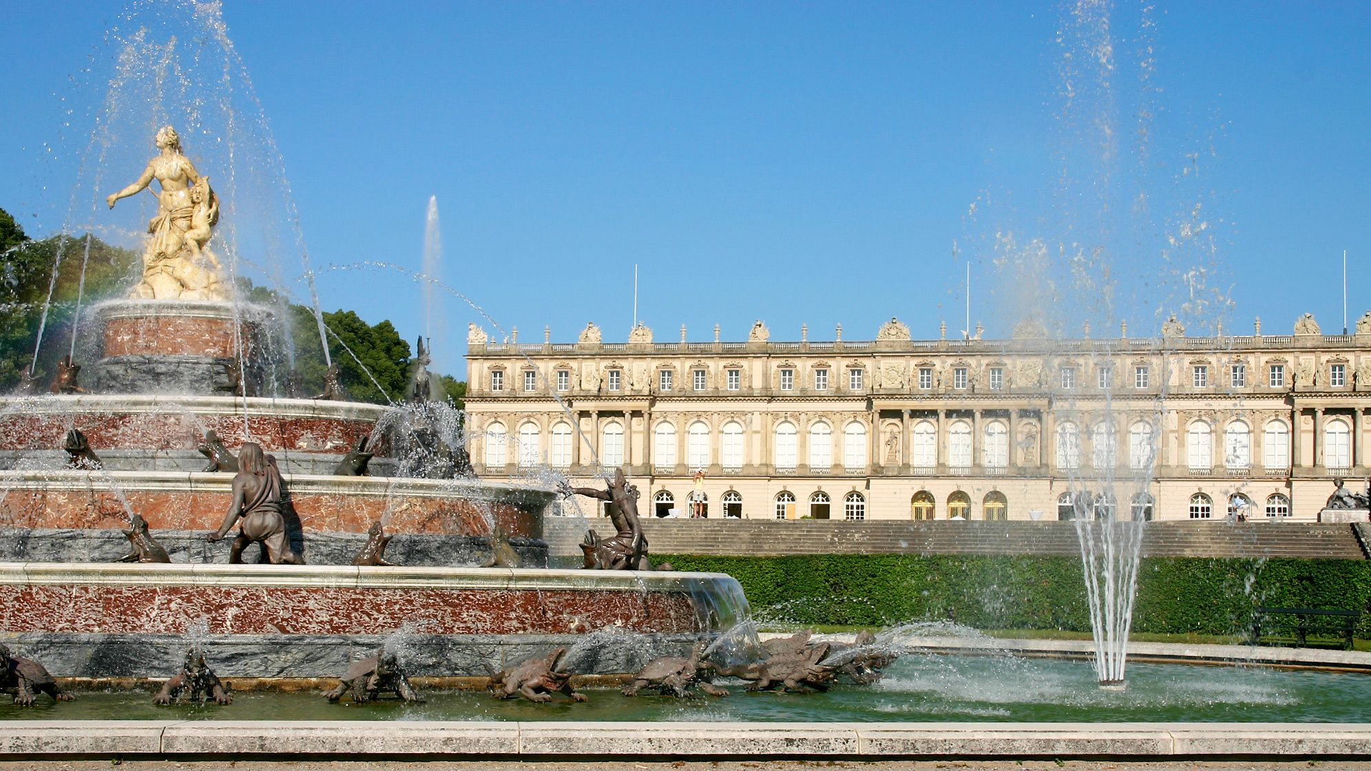 water fountains outside the Herrenchiemsee Castle in Germany