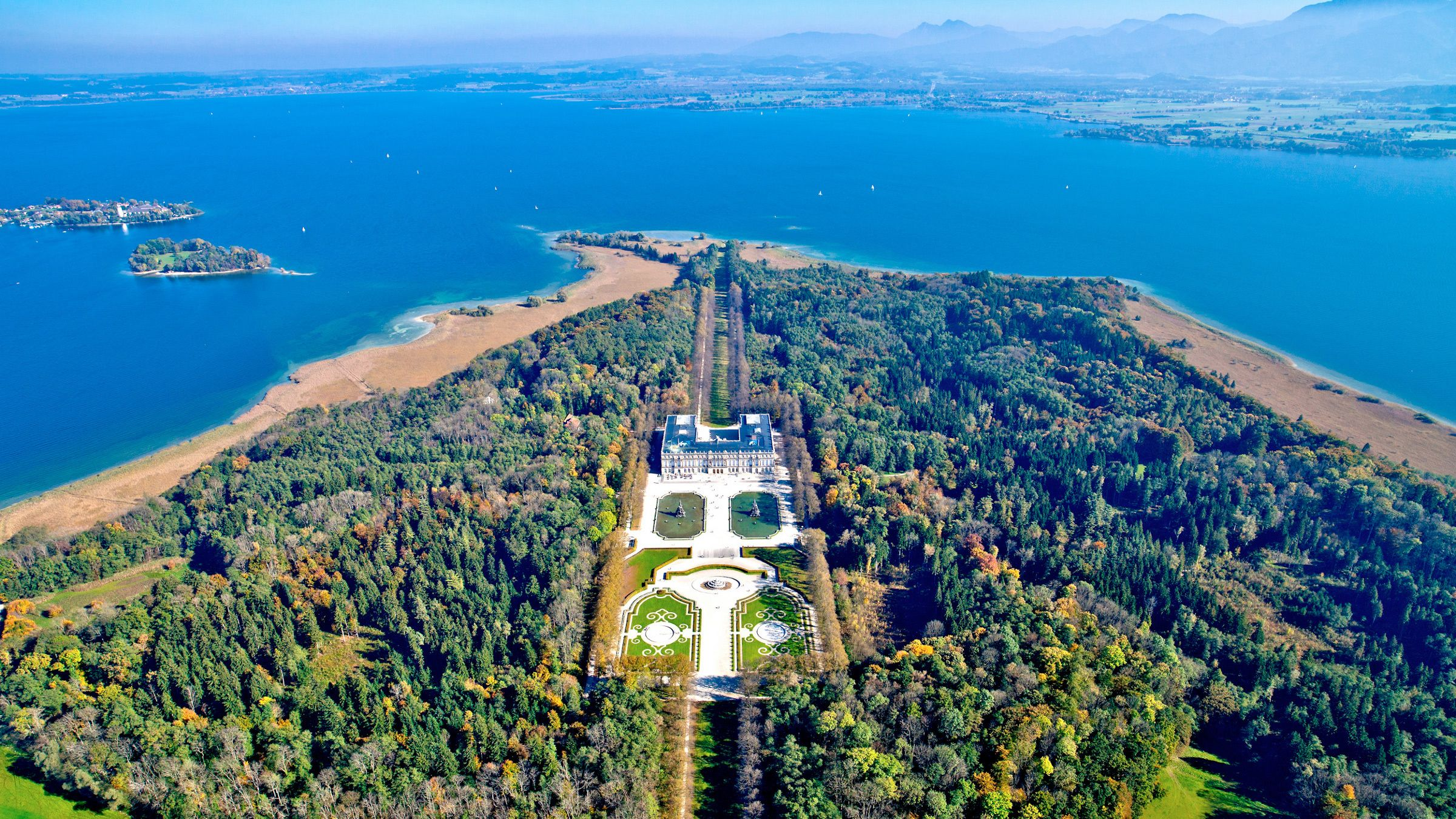 aerial view of the Herrenchiemsee Castle estate and surroundings in Germany