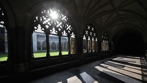 Sun shining through cloister in Westminster Abbey in London