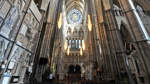 Altar and stained glass inside Westminster Abbey in London