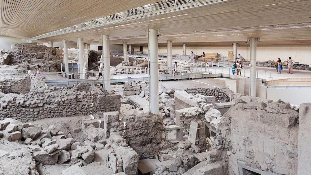 preserved excavated ruins in Santorini