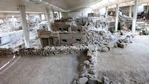old excavated ruins in Santorini