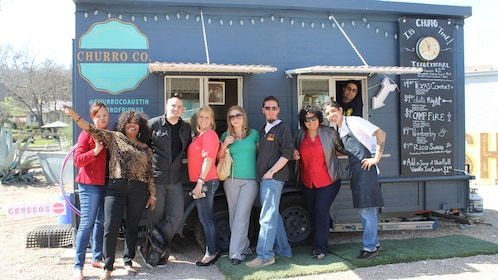 Group in front of food truck in Austin Texas