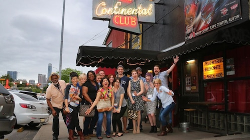 Group on Austin Live Music Tour outside the Continental Club in Austin Texas