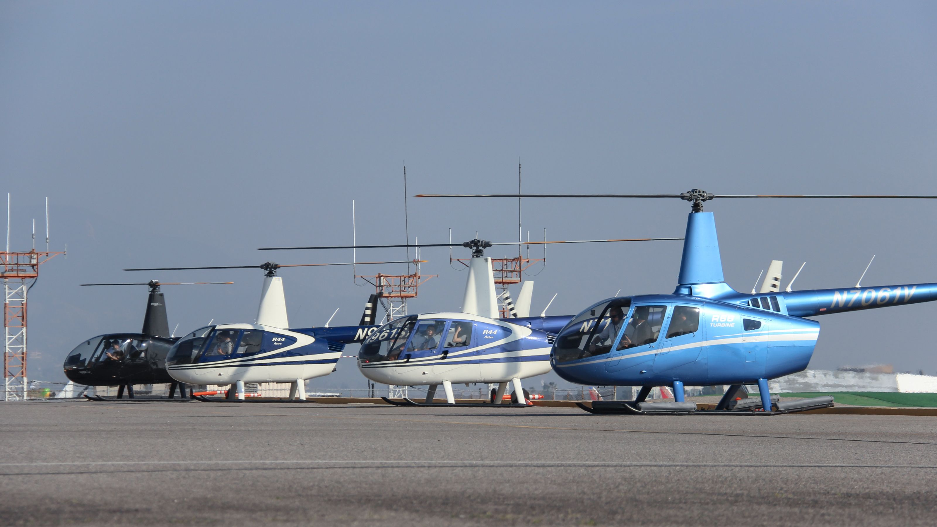 Helicopters at airport in Los Angeles