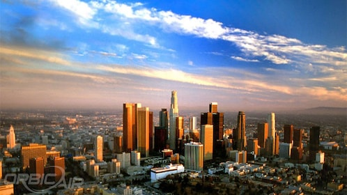 observing the cityscape during sunset from a helicopter in Los Angeles