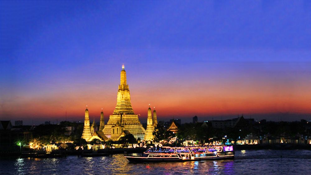 Temple on the water in Bangkok at night
