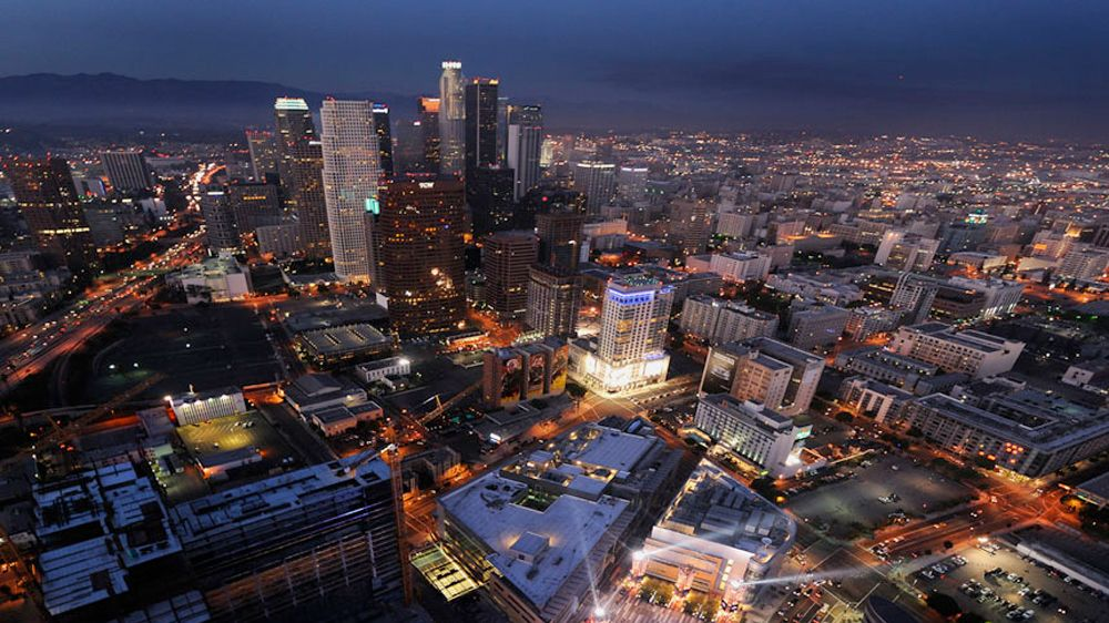 Skyline view at night in Los Angeles
