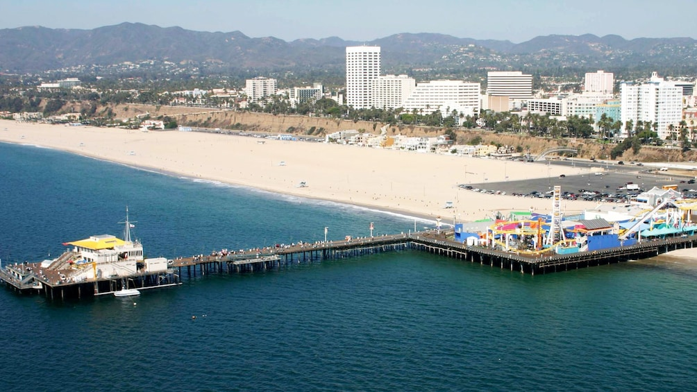 Show item 3 of 5. View of the beach and buildings in Los Angeles