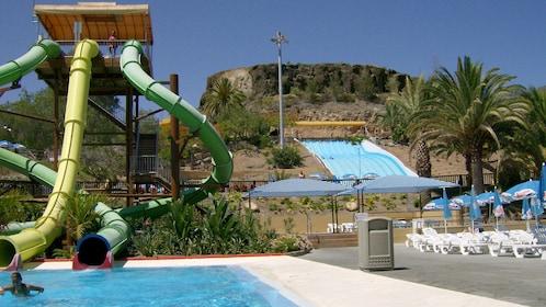 various water slides at the Aqualand Maspalomas in Spain