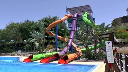 colorful slide tubes at the Aqualand Maspalomas in Spain
