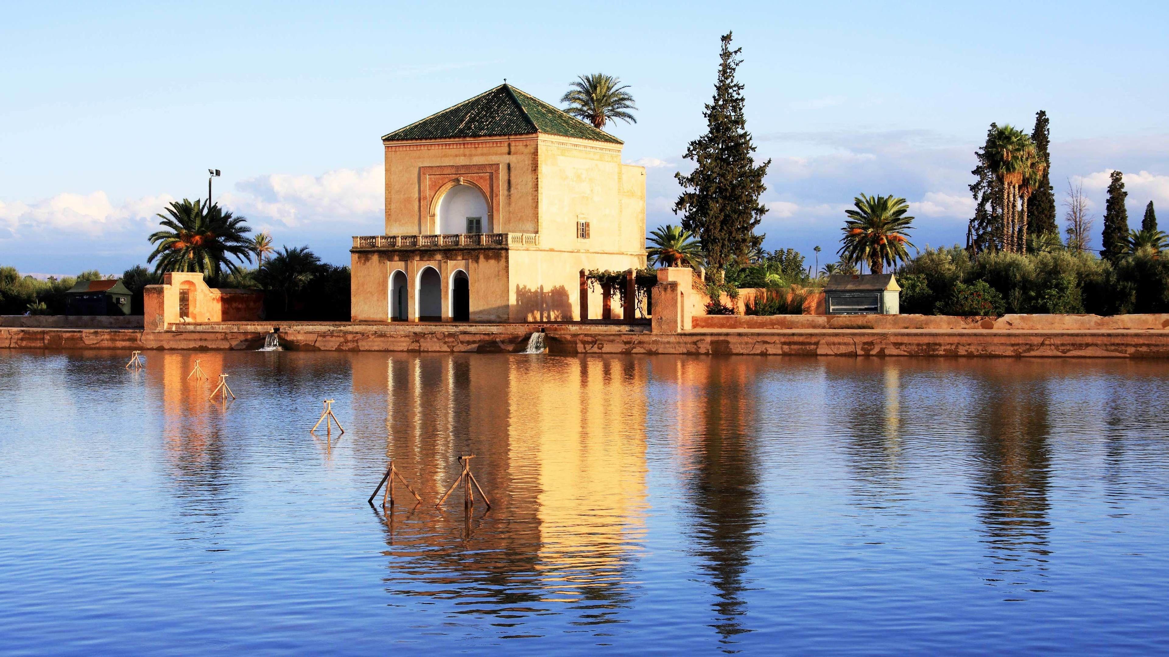 Gorgeous view of the Menara gardens in Marrakech