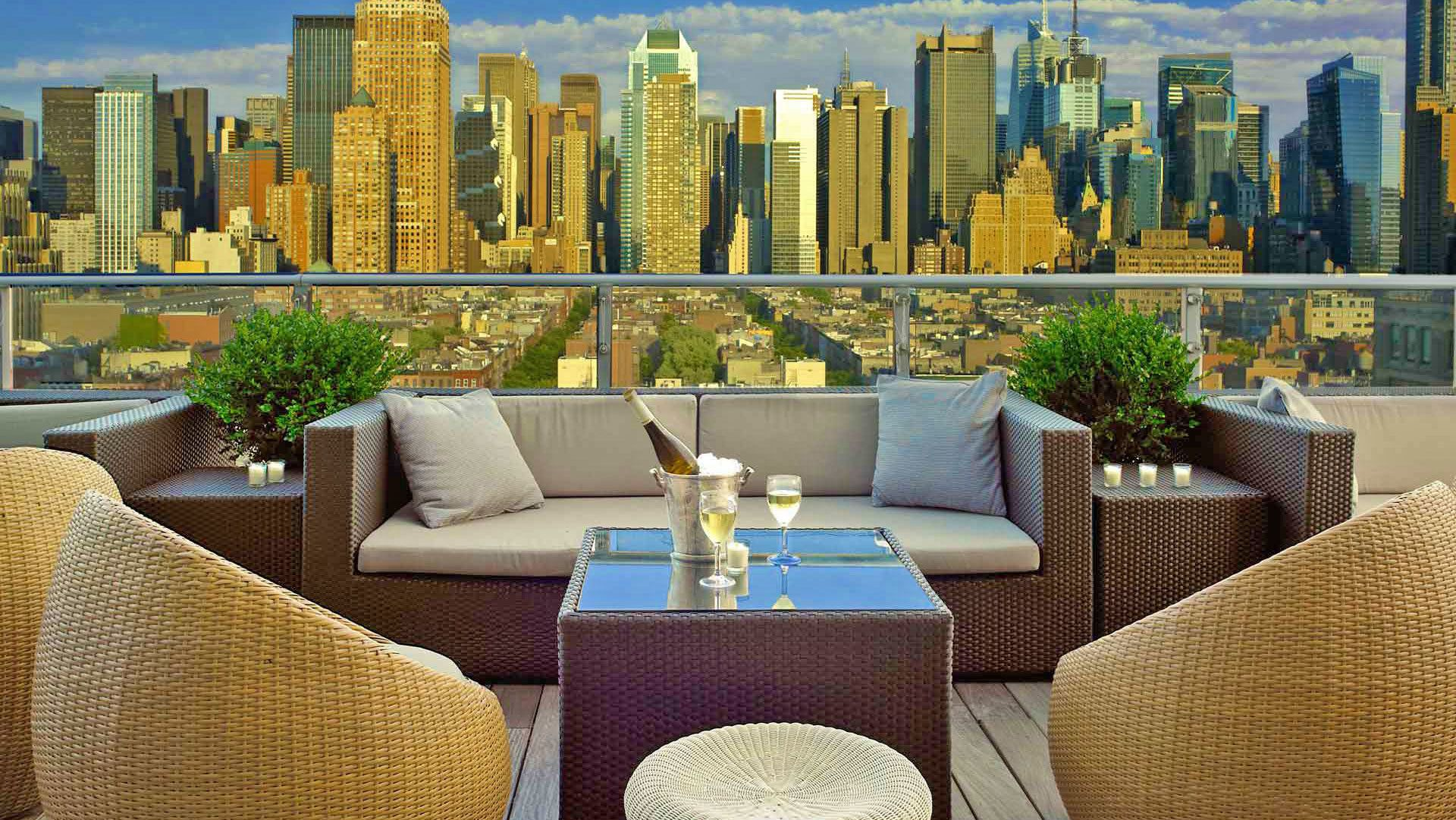 Lounge area rooftop in New York