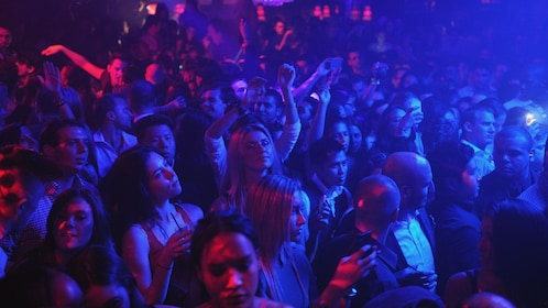 Close view of a crowd at a nightclub in New York