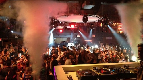 View from the DJ sound booth at a nightclub in New York