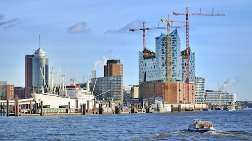 View of the water and construction being done in Hamburg