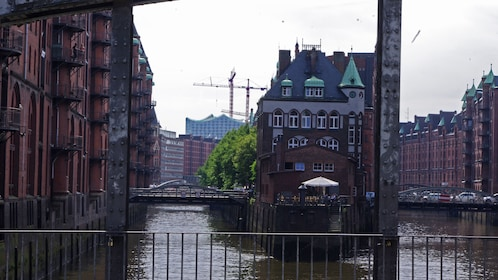 city view with canals in Hamburg Germany