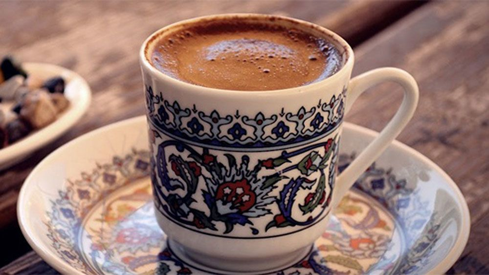 A cup of Turkish coffee at a local shop in Istanbul