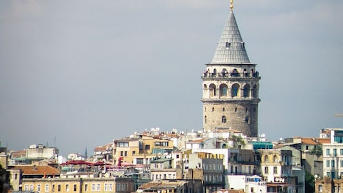 Panoramic view of the Byzantine hillside district of Galata in Istanbul