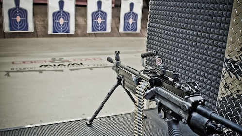 Gun at a range with targets