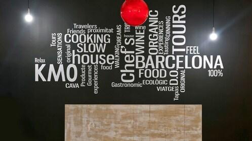 Decorative text wall art in Barcelona Spain