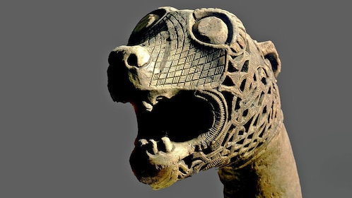 Animal head post from the Oseberg ship burial