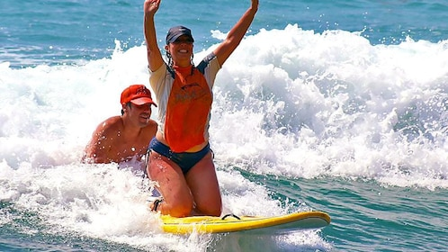 Successful surfing lesson in Los Cabos