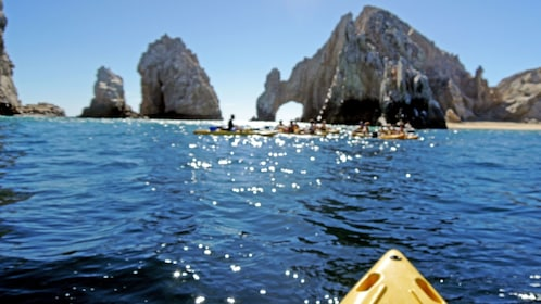 Kayaking towards the rock formations in Los Cabos